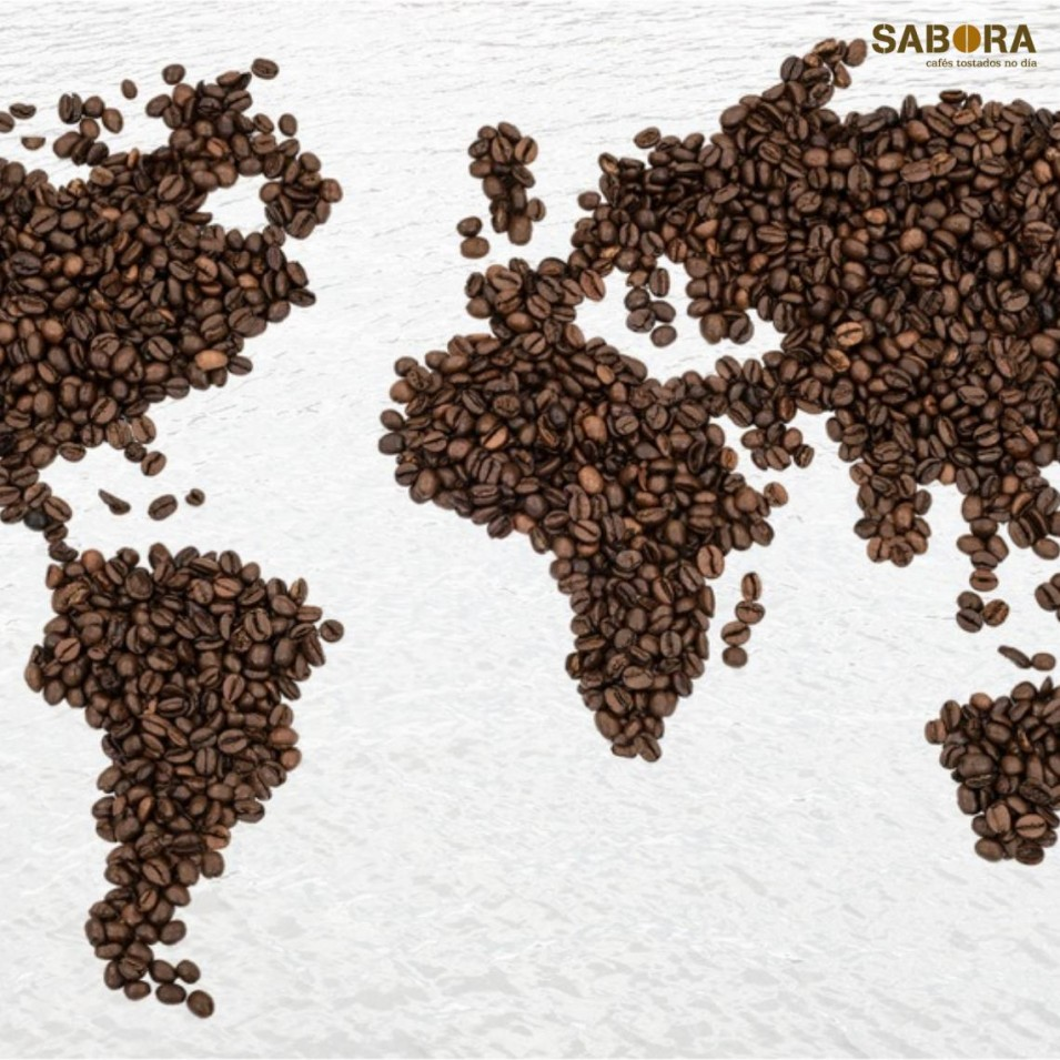Coffee beans forming a map of the five continents