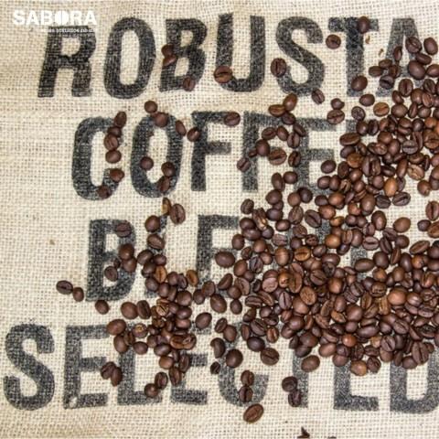 Café blend de robusta sobre saco