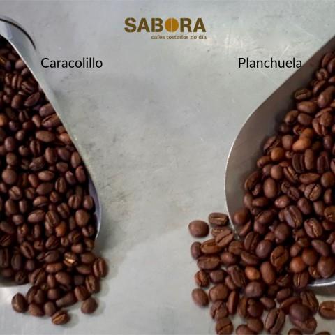 Grans  de café caracoliño e planchuela torrados