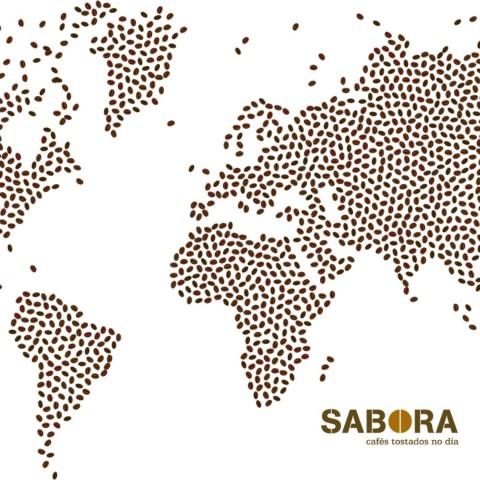 Mapa do mundo formado por grans de café.