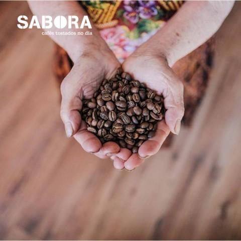 Café tostado en grano en las manos